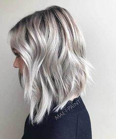 14 More New Short Haircuts for 2017 Summer Season: #10. Angled Gray Long Bob