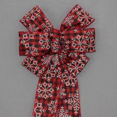 Buffalo Plaid Snowflake Christmas Bow