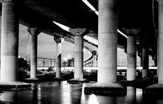 Bridge - bw, lines, columns, reflections, dark, contrast, structure