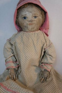 """24"""" antique painted face cloth doll great hands"""
