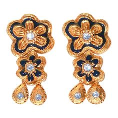 1990 Christian Lacroix Ear Clips | From a unique collection of vintage dangle earrings at https://www.1stdibs.com/jewelry/earrings/dangle-earrings/