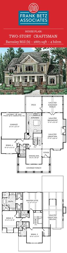 Barnsley Mill (b): 2883 sqft, 4 bdrm, craftsman house plan design by Frank Betz Associates Inc.