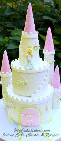Gorgeous Castle Cake! Cake decorating video tutorial by MyCakeSchool.com. Online cake decorating classes & recipes!