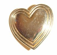 Goldtone Heart Pin Brooch THE VARIETY CLUB two lines round edge four identical