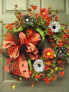 Summer Wreath Picnic Wreath Front Door Wreath by PeriwinkleSilks, $169.95