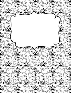 Free printable Halloween doodle binder cover template. Download the cover in JPG or PDF format at http://bindercovers.net/download/halloween-doodle-binder-cover/