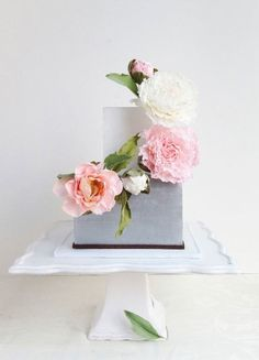 Two-Tiered Square Cake with Pink Roses Climbing up Side by cake whisperer.