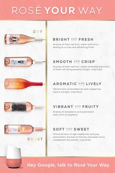 Explore our charming variety of Rosés from dry to sweet and chat with us via the Google Assistant to discover which Rosé was made just for you! Mixed Drinks, Fun Drinks, Yummy Drinks, Alcoholic Drinks, Beverages, Cocktails, Drinks Alcohol Recipes, Le Chef, Wine And Spirits