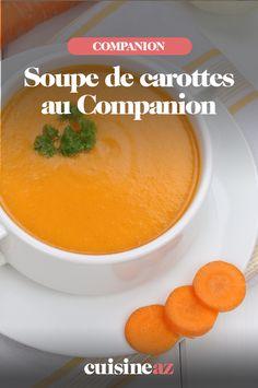 La soupe carottes au Companion est un classique des recettes d'automne. #recette#cuisine#soupe#carotte #robotculinaire  #Companion Cantaloupe, Robot, Fruit, Cream Soups, Poultry, Cooking Recipes, Carrot Soup, Carrots, Robots