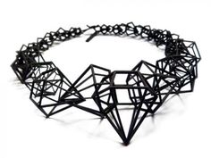 Geometric Jewellery Design - collar necklace with sharp diamond shapes  bold structure, made using 3D printing; jewelry architecture // Shapeways