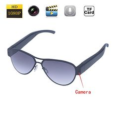 1080P HD Spy Camera Sunglasses 1920*1080 Surveillance Camera Mini Hidden Camera Video Cam DV DVR Recorder   Free 8GB SD TF Card (Grey) * Read more reviews of the product by visiting the link on the image.