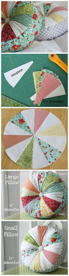 Sew Pillow Scrappy sprocket patchwork pillow tutorial - These are my favorite new pillows. They are fast and unbelievably easy to make…and I hope you love them as much as I do. I did my best to simplify the instructions/pattern so they are beginner fr… Sewing Hacks, Sewing Tutorials, Sewing Patterns, Sewing Tips, Knitting Patterns, Crochet Patterns, Tutorial Sewing, Free Sewing, Sewing Ideas