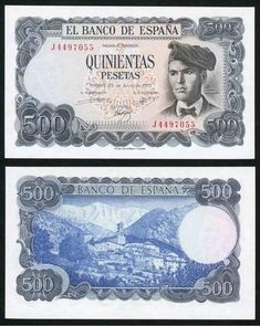 Description: A beautiful crisp uncirculated banknote from Spain. This is the 23 July 500 Peseta. The banknote, which is a one year issue, has blue-gray and black coloring on multicolor under-pri