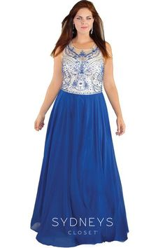 b41b3333e46 Sydney s Closet Plus Size Prom Feel sexy and sophisticated in this  luxurious A-line formal gown. The stunning net illusion bodice features an  elaborate ...