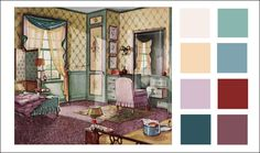 Interior Paint Color Scheme 1930s | 1930s Color Scheme - 1930 Green, Buff, and Lavender Bedroom ...