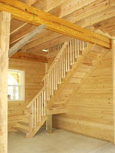 Loft Stair design for 12 high walls.  When barn is built with higher walls, stair landing must be installed higher.  The stairway in this barn was installed in open room.