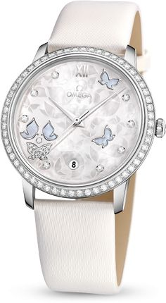 OMEGA De Ville Prestige Butterfly Watch | 60 diamonds and 24 etched butterflies on the mother-of-pearl dial.....$14,000