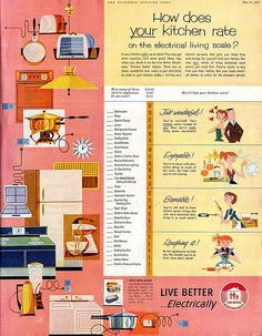 """Live better...electrically.""  Saturday Evening Post  Illustrated by Calle  May 1957"