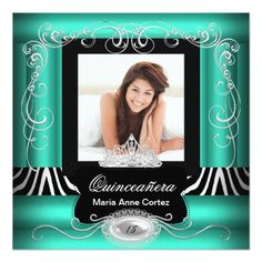 Photo Quinceanera 15th Birthday Jade Teal Zebra 5.25x5.25 Square Paper Invitation Card