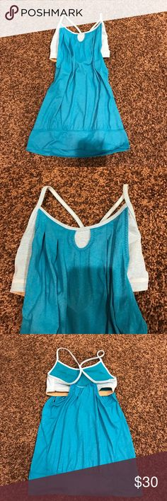 Lululemon no limits tank Blue lululemon tank, real with built in bra that's blue and white striped! Super soft material, size 4! Used but in mint condition! No flaws! 😍 lululemon athletica Tops Tank Tops
