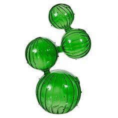 Vase Cactus en verre vert H 26 cm