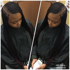 2 layer feeder braids w/side part # 2 layer tribal Braids # middle tribal Braids Short Curly Weave Hairstyles, Natural Braided Hairstyles, African Braids Hairstyles, Braid Hairstyles, Black Girl Braids, Girls Braids, Protective Braids, Protective Styles, Lemonade Braids Hairstyles