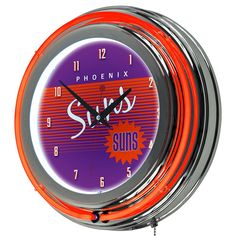 Phoenix Suns Hardwood Classics Chrome Double-Ring Neon Wall Clock, Multicolor