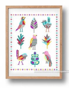 Tittle: Fairy birds.  Large cross stitch.    This PDF counted cross stitch pattern available for instant download.    Skill level: Beginner+.