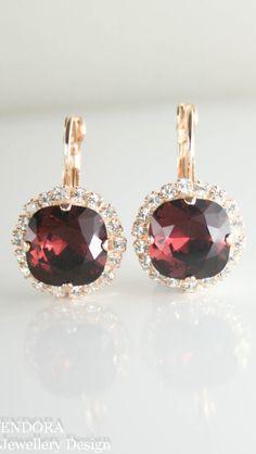 Swarovski Burgundy crystal earrings   burgundy wedding   red wedding   burgundy   www.endorajewellery.etsy.com