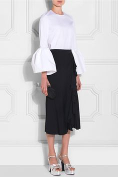 Roksanda Bell Sleeve Top and culottes