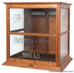Thrift Store - Used Furniture Vintage Display, Wood Display, Bread Display, Display Cases, Antique Display Cabinets, Picture Frame Display, Oak Trim, Antique Auctions, Cafe Design
