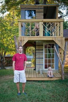 Laurel's husband built this incredible two-story treehouse for their kids in their backyard.  It comes complete with windows and doors, as well as a patio and balcony.  It even has electric lights! These kids are spoiled rotten! How bout a tree house for me!