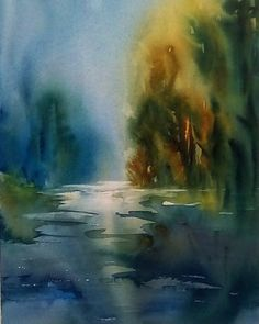 Remembered Landscape of the North Yuba River - watercolor- artist: Margaret Parker Brown