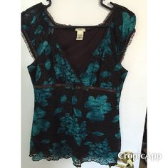 Brown and teal lace short sleeved top Brown and teal lace short sleeved top from Maurice's size M Maurice's Tops