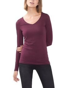 ESPRIT Women's 086EE1K004 Long Sleeve Top, Red (Bordeaux Red), 14 (Manufacturer…