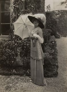 Amazingly, Lucile's most important contributions to the world of fashion were probably not her designs.  Lucile is credited with hiring and training the world's first profession fashion models and using them to stage the very first catwalk-style runway shows!  This photograph was taken of one of Lucile's models (which she called mannequins) in 1912.