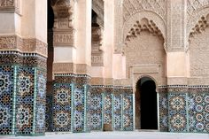 Moorish Architecture Ali Ben Youssef Madrassa in Marrakech, Morocco Visit Marrakech, Marrakech Morocco, Islamic Architecture, Art And Architecture, Windows Wallpaper, Rustic Restaurant, Interior Decorating Styles, Interior Design, Moroccan Decor