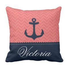Nautical Coral Pink Navy Blue Anchor Custom Name Throw Pillow