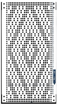 Brother 820 Knitting machine Punchcard number 14  http://www.needlesofsteel.org.uk/