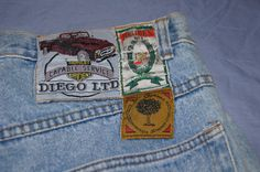 "Vintage 1990's - Us32 Ch40  european ""american style"" Jeans with patches on the back. by TheMercerStreetHouse on Etsy"