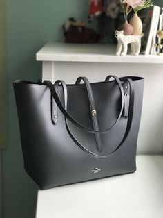 0dee17e1fc1945 NWT COACH Market Tote Bag Handbag Polished Pebble Leather 58849 - Midnight  Navy  fashion  clothing  shoes  accessories  womensbagshandbags ...
