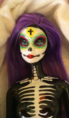 Award winningHand paintedDay of the Dead Barbie by gingerpane