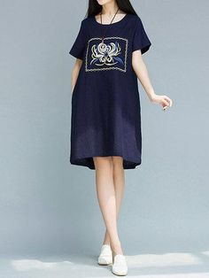 NewChic - NewChic Vintage Floral Embroidered Short Sleeve O-neck Dress For Women - AdoreWe.com