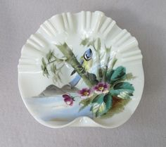 Victorian Blue Tit Calling Card Receiver Tray  Offered by Ruby Lane Shop Antique Beak
