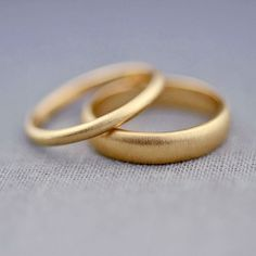 Recycled 14K Gold Wedding Ring Set 2mm and 4mm by LilyEmmeJewelry
