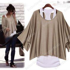 Women Tops Batwing Loose T-shirt Vest Short Sleeve Size M/L