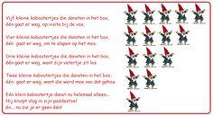 * Versje: 5 kleine kaboutertjes...