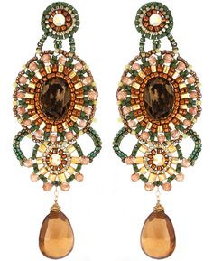 Champagne Quartz, Swarovski, Cubic Zircon and Gold Fill Statement Earrings Beaded by Esther Marker