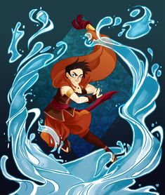 """Young Varrick in Arden, but the thing his """"bending"""" isn't water so much as blue light."""