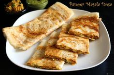 Paneer Masala Dosa is a crispy Indian savory crepe with a delicious filling made from paneer (Indian cottage cheese). Perfect for breakfast / dinner.